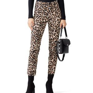 PAIGE  Hoxton Ankle Raw Hem Jean Leopard Print